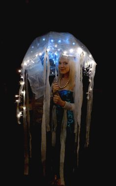 Jellyfish costume for next year -Clear Umbrella -Bubble wrap -Battery Lights