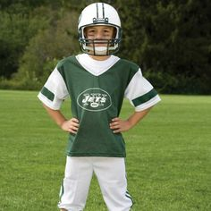 NFL® Deluxe Uniform Set - New York Jets - Your little football fan can look like a real gridiron warrior wearing this official NFL® uniform set! Included is an official home team jersey, team helmet with authentic logo and team colors and team pants that will have them looking ready to take the field. The set also includes iron-on numbers (0-9) for the back of the jersey. Makes a great Halloween costume! - See more at: http://franklinsports.com/shop/nfl-deluxe-uniform-set