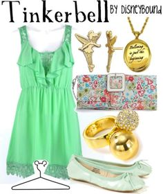 Disney Fairies: Tinkerbell inspired outfit by Disneybound at:  http://disneybound.tumblr.com/
