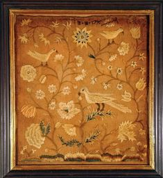 """Crewel work sampler inscribed """"B. I. 1795"""" .  Probably Philadelphia, PA. One of a pair."""