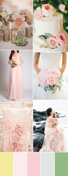 blush pink and green wedding color combo trends 2015