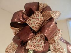 images of a big ribbon bow tie for a christmas tree | Large Christmas Tree topper bow made with a Leopard/ animal print with ...