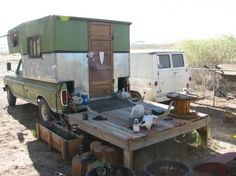 """My Dad built a """"camper"""" on our truck. Similar to this.  There were 2 bunks for sleeping and that was all that was in it.  I wish I could find a photo."""