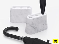 zpstudiotools shapes carrara marble to function as both umbrella stand + candle holder