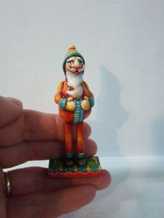 Miniature Folk Art Primitive Santa Claus Art OOAK Doll Dollhouse Collectible