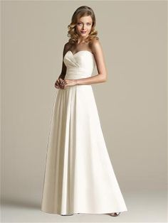 Full length strapless chiffon dress with drape surplice bodice. Pleated detail at midriff and skirt.