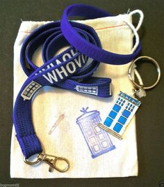 "New WHOVIAN Gift Pack - ""Police Box"" Key Ring, WHOVIAN Lanyard and WHOVIAN Silicone Bracelet - all packed up in a custom stamped drawstring bag.  AH!"