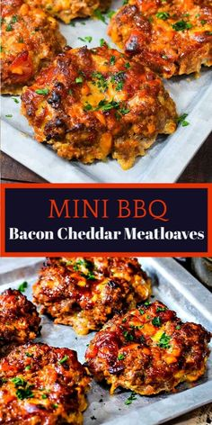 MINI BBQ BACON CHEDDAR MEATLOAF Individual serving Mini Barbecue Bacon-Cheddar Meatloaf Recipe - smoky barbecue glazed meatloaves packed full of cheesy bacon deliciousness. Made in half the time perfect and for a meal any day of the week. Classic Meatloaf Recipe, Good Meatloaf Recipe, Meat Loaf Recipe Easy, Mini Meatloaf Recipes, Mini Meat Loaf, Hamburger Meat Recipes, Ground Beef Recipes For Dinner, Bacon Recipes For Dinner, Ground Beef Recepies