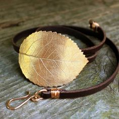 Bronze Rose Leaf Leather Wrap Bracelet