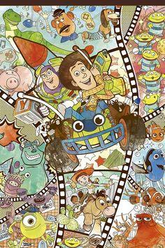 Disney Canvas Art, Disney Collage, Disney Art, Disney Phone Wallpaper, Cartoon Wallpaper Iphone, Disney Images, Disney Pictures, Dibujos Toy Story, Jessie Toy Story
