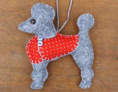 Poodle Christmas ornament Felt dog ornament by PuffinPatchwork