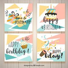 Tarjetas de cumpleaños modernos vector g... | Free Vector #Freepik #freevector #cumpleanos #invitacion #feliz-cumpleanos #fiesta Happy Birthday Cards Handmade, Happy 11th Birthday, Free Printable Birthday Cards, Creative Birthday Cards, Birthday Card Drawing, Birthday Card Design, Calligraphy Birthday Card, Birthday Scrapbook Pages, Creative Gift Wrapping