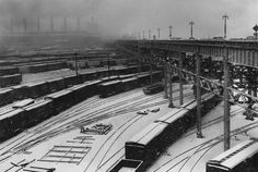 Dec. 2, 1952: Freight yards at Twelfth Avenue and 72nd Street were covered in slushy precipitation during a day of snowfall. Photo: Eddie Hausner/The New York Times