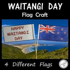 A simple craft activity for your students to make to celebrate Waitangi Day. 1. Colour the flag on the front and the writing on the back. 2. Cut around the outside border. 3. Fold in half. Place a wooden skewer (or similar object such as a drinking straw) at the half-way point. 4. School Resources, Classroom Resources, Student Learning, Teaching Kids, Treaty Of Waitangi, Waitangi Day, Different Flags, Easy Crafts, Crafts For Kids