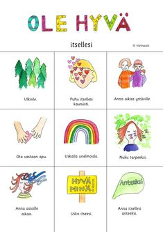 Julisteet - Värinautit Diy Finger Knitting, Finnish Language, Primary English, Becoming A Teacher, Therapy Tools, Emotional Intelligence, Occupational Therapy, Childhood Education, Pre School