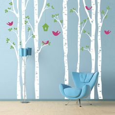 Vinyl Wall Decal  - Birch Trees and Birds - Extra Large Wall Mural. $139.95, via Etsy.