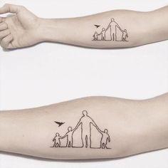 Tiny Fatherhood Tattoos Mum And Dad Tattoos, Family Name Tattoos, Meaningful Tattoos For Family, Daddy Tattoos, Father Tattoos, Tattoos With Kids Names, Tattoo For Son, Family Tattoos For Men Symbolic, Tattoo Mom