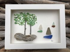 Original Sea Glass Art by lieu Pebble art Driftwood Art