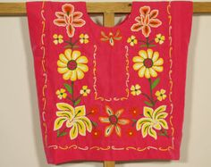 FREE Shipping! Mexican pink: huipil, ethnic blouse, yellow flowers on fiucsa/ Made by Mexican hands of indigenous people of southern MX