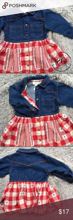 🎉HP🎉Denim and Checkered Dress. 💢This dress is ADORABLE for Fall! Perfect for everyday wear or a photo shoot at the pumpkin patch. 100% cotton. baby beluga New York Dresses Casual