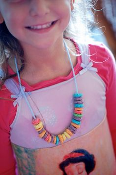 fruit loop necklaces at pancakes & pajamas party