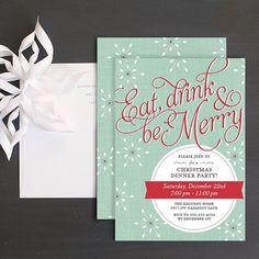 Retro Snowflake Holiday Party Invitations by Elli