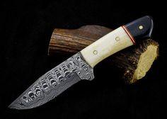 Damascus Steel Hunting Knife – KBS Knives Store Damascus Blade, Damascus Knife, Damascus Steel, High Carbon Steel, Low Carbon, Bull Horns, Camping Knife, Bones, Handmade Items