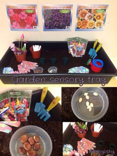 """Garden"" sensory tray. Seeds, pots, fake flowers and tools."