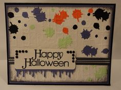 Halloween Splatter Card-used splatter punch from M Stewart and embossing folder from Tim Holtz. Easy card to put together. TFL  My blog: cardcornerbycandee.blogspot.com