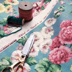 Shop for Fabric at Style Library: Hollyhocks by Sanderson. Adding a vintage feel to any room, this linen-blend fabric design was taken from a 1937 arch. Sanderson Fabric, Pink Turquoise, Aqua, Magnolia Pearl, Hollyhock, Fabulous Fabrics, Vintage Country, Fabric Wallpaper, William Morris