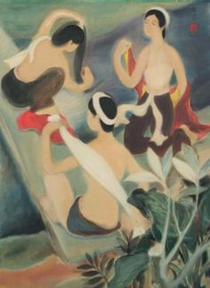 The Three Bathers, 1938 by Le Pho. Post-Impressionism. cityscape