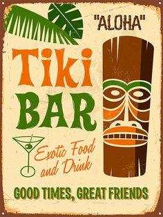 Poster Werbung 03, Alt Tafel Schild Hawaii Tiki Bar Aloha karibik A4