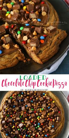 Jumbo chocolate chip cookie topped with everything! If you love indulgent desserts, this Loaded Chocolate Chip Cookie Pizza is heaven! via /KleinworthCo/ Chocolate Chip Cookie Pizza, Chocolate Pizza, Easy Chocolate Desserts, Cookie Desserts, Chocolate Recipes, Just Desserts, Cookie Recipes, Delicious Desserts, Dessert Recipes