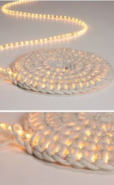 Home Discover Knitting Patterns Yarn Crochet LED fairy lights as carpet schoenstricken. Crochet Projects Craft Projects Crochet Diy Crochet Rope Learn Crochet Crochet Ideas Led Fairy Lights Creation Deco Arts And Crafts Crochet Projects, Craft Projects, Knitting Patterns, Crochet Patterns, Rug Patterns, Knitting Ideas, Diy And Crafts, Arts And Crafts, Decor Crafts