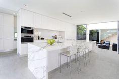 60 Gorgeous White Kitchen Design and Decor Ideas - Page 3 of 53 Luxury Kitchen Design, Luxury Kitchens, Small Kitchens, White Kitchens, Kitchen Flooring, Kitchen Countertops, White Kitchen Floor Tiles, Quartzite Countertops, Kitchen Interior