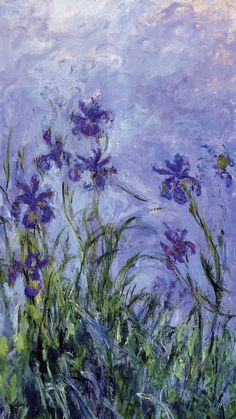 Lilac Irises by Claude Monet. I chose this painting because it has my favorite type of flowers. I also didn't know that Monet painted irises. I thought he just painted water lilies. Art And Illustration, Illustrations, Claude Monet, Vincent Van Gogh, Monet Paintings, Impressionist Paintings, Impressionism Art, Original Paintings, Paintings Famous
