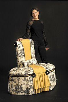 Designer Dena Novak Hamilburg of   Hamilburg Interiors, Boston, and her   second place winning chair, Toile en Haute Couture