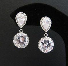 Bridal Earrings with clear white Crystal drops http://www.stylishweddings.com.au/bridal-earrings-with-clear-white-crystal-drops