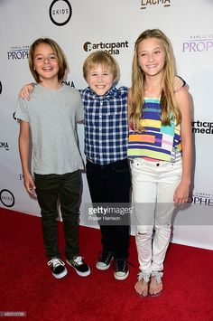 Actors (L-R) Mace Coronel,Casey Simpson,Lizzy Greene, arrive at the Screening of GKIDS' 'Kahlil Gibran's The Prophet' at Bing Theatre At LACMA on July 29, 2015 in Los Angeles, California.