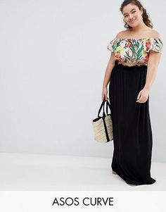 70c2a4c527 ASOS DESIGN Curve Maxi Skirt With Paperbag Waist Plus Size Skirts, Plus  Size Outfits,