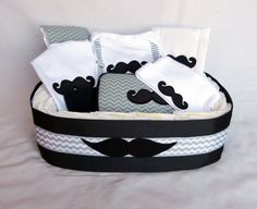 Mustache Chevron Diaper Gift Basket Baby Boy Gift Set by mamabijou, $97.00
