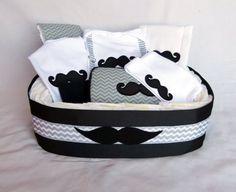 Mustache Chevron Diaper Gift Basket Baby Boy Gift Set by mamabijou, $97.00