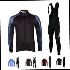 53.19$  Buy now - http://ali9x9.worldwells.pw/go.php?t=32507794079 - Kukaze Men's Winter Fleece Thermal Cycling Long Sleeve Jersey+Bib Pants Padded  Bike Bicycle Sets 6 Color