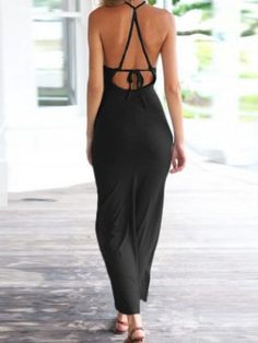Shop Black Strappy Tie Backless Side Split Bodycon Dress from choies.com .Free shipping Worldwide.$14.99