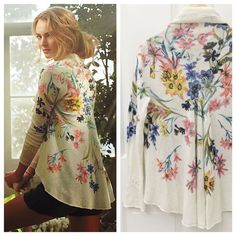 Anthropologie Fleur de Champs Cardigan Floral  Super RARE!! Anthropologie Knitted & Knotted Fleur de Champs Cardigan Floral, Size L, excellent like new condition  With a cascade of ruffles and daisy-fresh florals, this lightweight linen cardi from Knitted & Knotted is the perfect layer for gentle spring breezes. By Knitted & Knotted Linen, cotton Hand wash Anthropologie Sweaters Cardigans