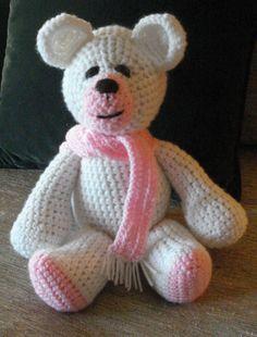 Crocheted polar teddy bear stuffed animal by GritSadlerOriginals
