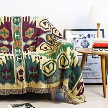 Vintage de las borlas de color verde oscuro tejidas suave sofá lanza tapetes…