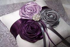 grey and plum wedding  | Ring Bearer Pillow - Dark Plum, Lilac, Charcoal Gray and White, custom ...?