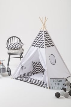 Black chevron kids teepee play tent with a padded floor mat by WigiWama on Etsy