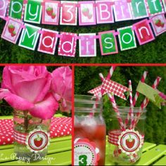 Strawberry decoration idea has coordinating invitations.